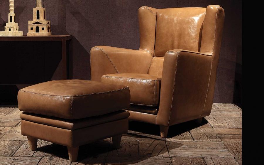 Baxter Bergère armchair and pouf