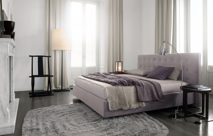 Poliform Arca bed with quilted upholstered headboard